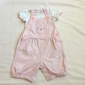 Pink striped romper overalls kitty set